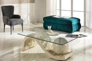 Tavolini da salotto in pietra fossile: complementi d'arredo eleganti e moderni